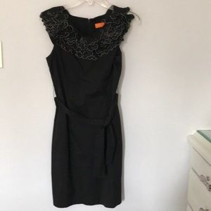 Ruffle neck sleeveless dress